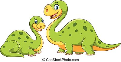 Happy mother with baby dinosaur