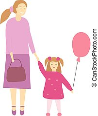 Vector illustration of happy mother with her little daughter.