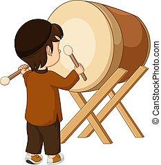 Vector illustration of Happy Muslim boy cartoon hitting Bedug