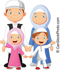 vector illustration of Happy Muslim family cartoon