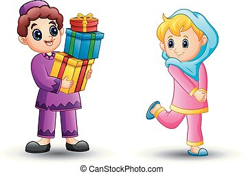 Happy Muslim girl cartoon can be a gift from boy