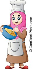 Happy Muslim girl cooking