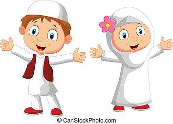 vector illustration of Happy Muslim kid