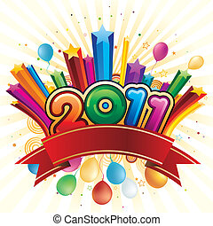 vector illustration of happy new year 2011