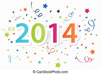 Happy New Year 2014 with colorful - Vector Illustration of...