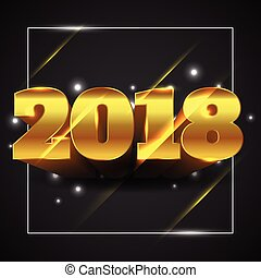 Vector Illustration of Happy New Year 2018 Gold Text with Black Background