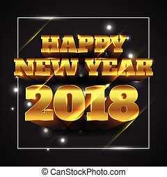Vector Illustration of Happy New Year 2018 Gold with Black Background