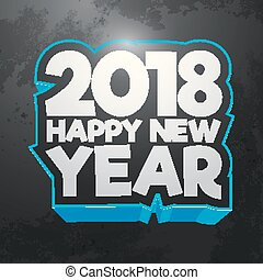 Happy new year 2018 text design