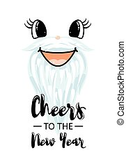 Vector illustration of happy new year banner. Hand drawn ...