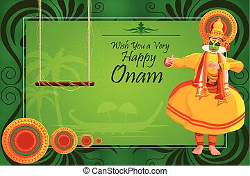 Happy Onam Festival background - vector illustration of ...