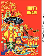 Happy Onam Festival background of Kerala with King Mahabali