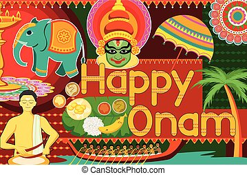 Happy Onam festival celebration background