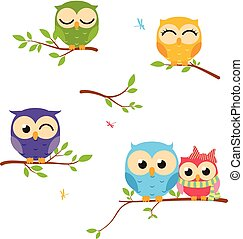 Happy Owl background with tree branch