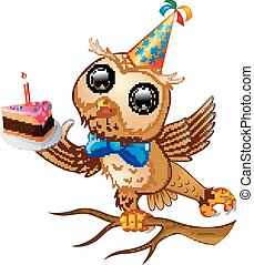 Happy owl cartoon celebrating birthday