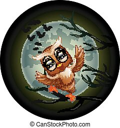 Happy owl cartoon standing on the branch