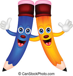 Happy pencil couple cartoon