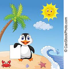 Happy penguin holding blank paper