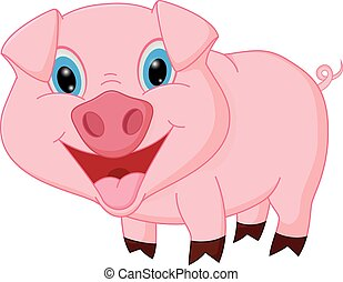 Happy pig cartoon - Vector Illustration of Happy pig cartoon...