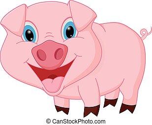 Happy pig cartoon - Vector Illustration of Happy pig cartoon...