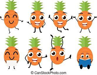 Happy pineapple cartoon character