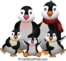vector illustration of happy pinguin family