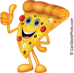 Vector illustration of Happy pizza cartoon with thumb up