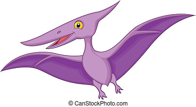 Vector illustration of Happy pterodactyl cartoon