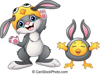 Happy rabbit and chicken cartoon in costume