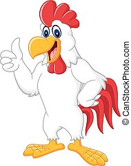 Happy rooster cartoon giving thumb