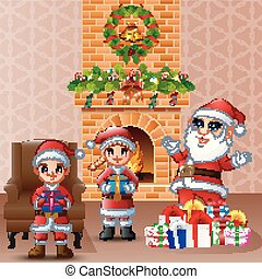 Happy Santa and kid bringing gift box in the living room with Christmas and new year decoration
