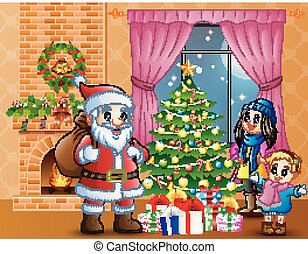 Happy Santa and parent with daughter in the living room with Christmas and new year decoration
