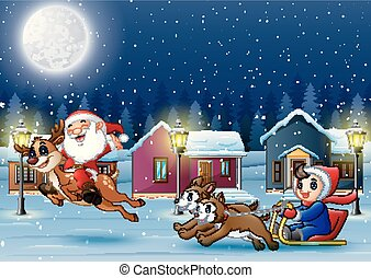 Happy Santa Claus riding a reindeer with boy on a sleigh pulled by dog at winter night