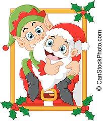 vector illustration of happy santa hold elf cartoon