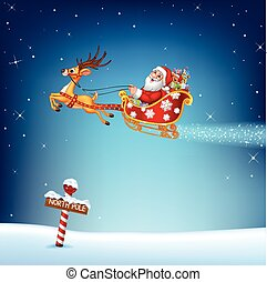 Happy Santa in his Christmas sled - Vector illustration of...