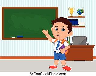 happy school boy with blank green chalkboard