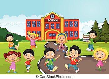 Vector illustration of Happy school children cartoon in front of school