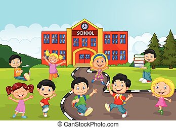 Happy school children cartoon in fr - Vector illustration of...