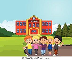 Happy school children cartoon in fr