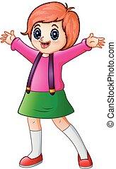 Happy school girl cartoon - Vector illustration of Happy...