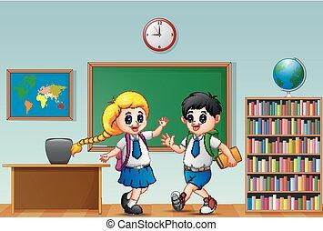 Happy school kids in a classroom