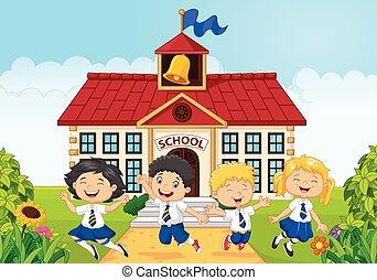 Happy school kids in front of schoo - Vector illustration of...