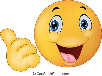 Happy smiley emoticon cartoon givin