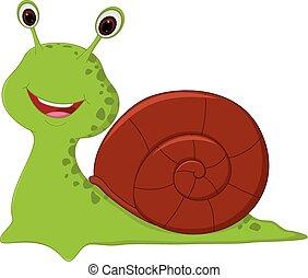 Vector Illustration of Happy Snail cartoon