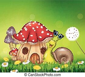 Happy snail with beautiful mushroom