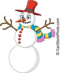 happy snowman cartoon