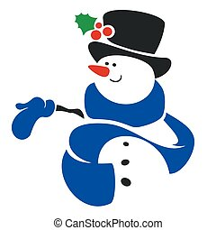 Vector illustration of happy snowman cartoon