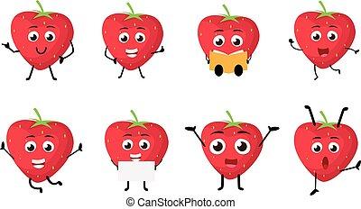 Happy Strawberry cartoon Character