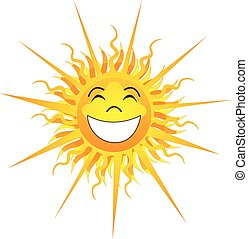 Happy Sunshine Isolated - Vector Illustration of Happy...