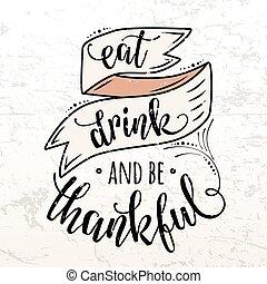 Vector illustration of Happy Thanksgiving Day, autumn vintage design
