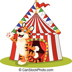 Happy tiger animal with circus tent